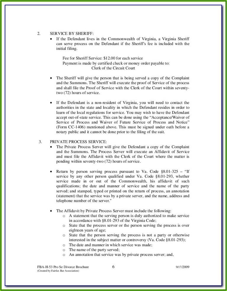 Fairfax County Divorce Paperwork