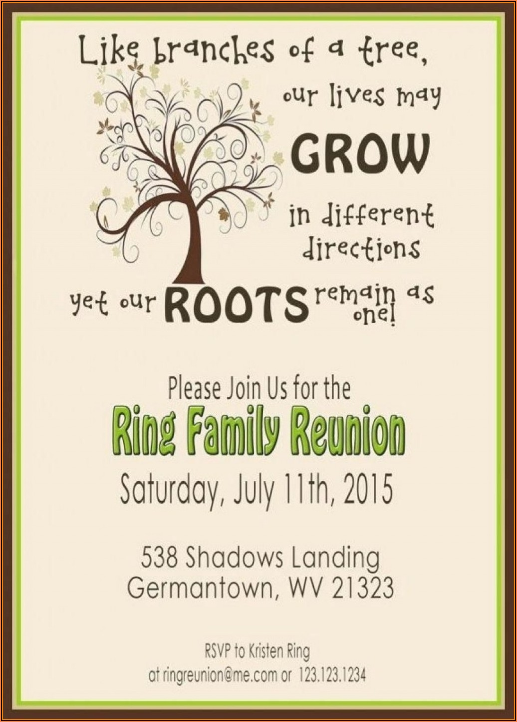 Family Reunion Invitation Postcard Template