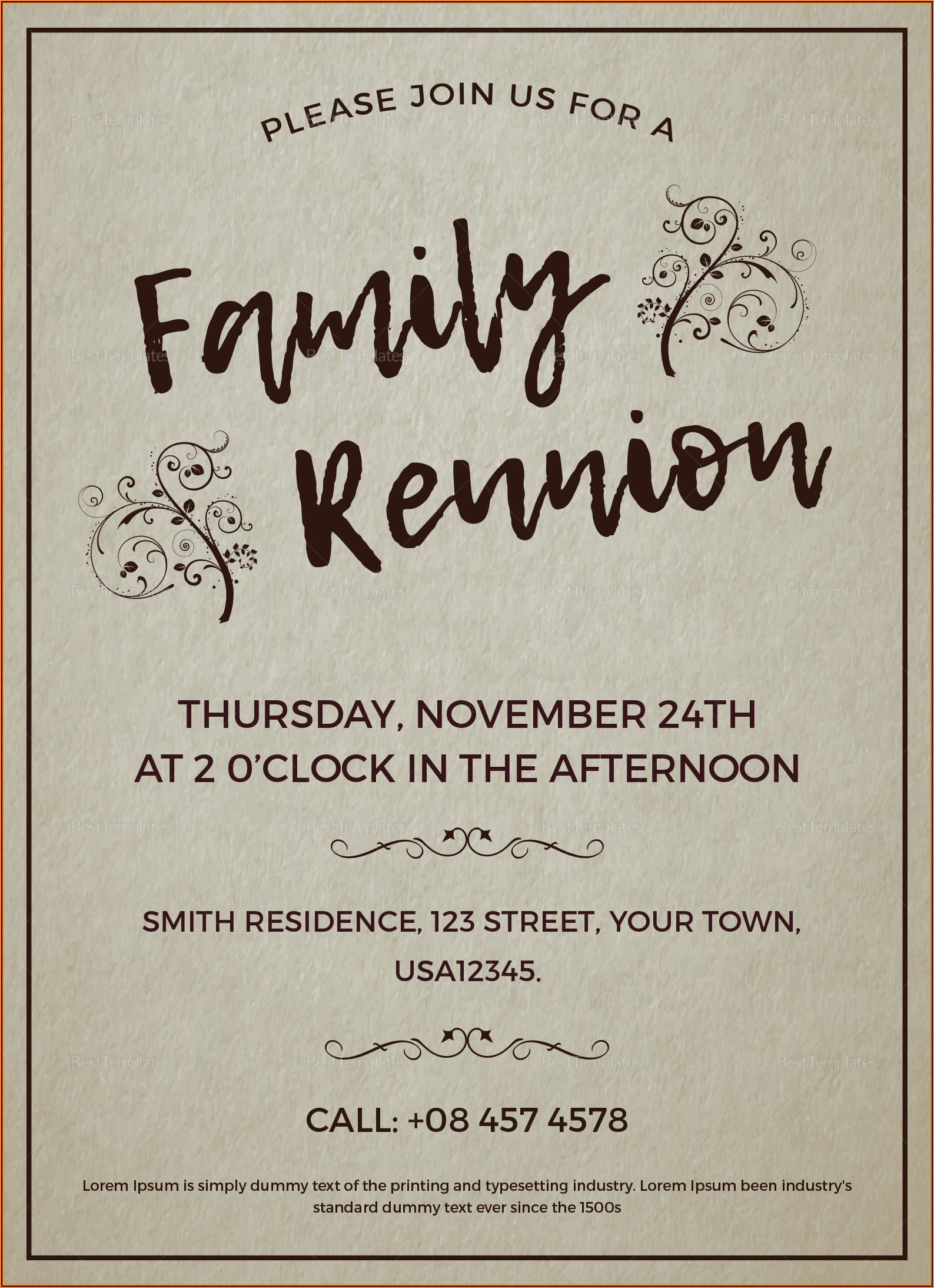 Family Reunion Invitation Templates Word