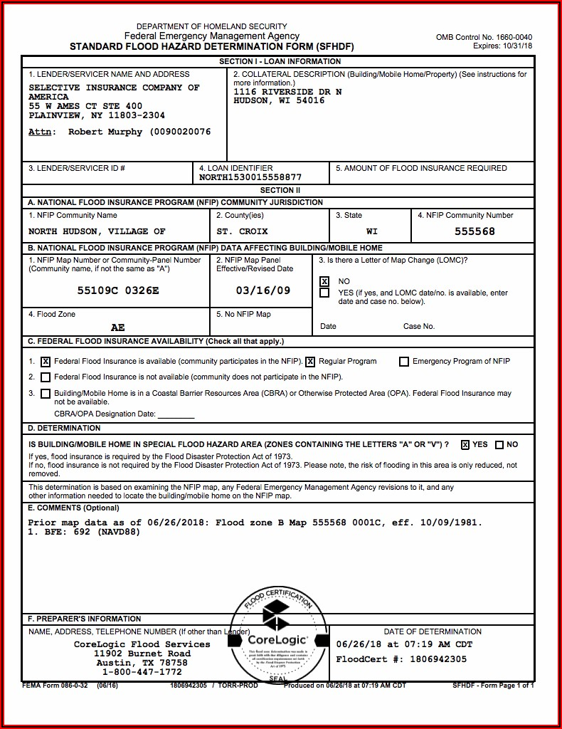 Fema Flood Application Form