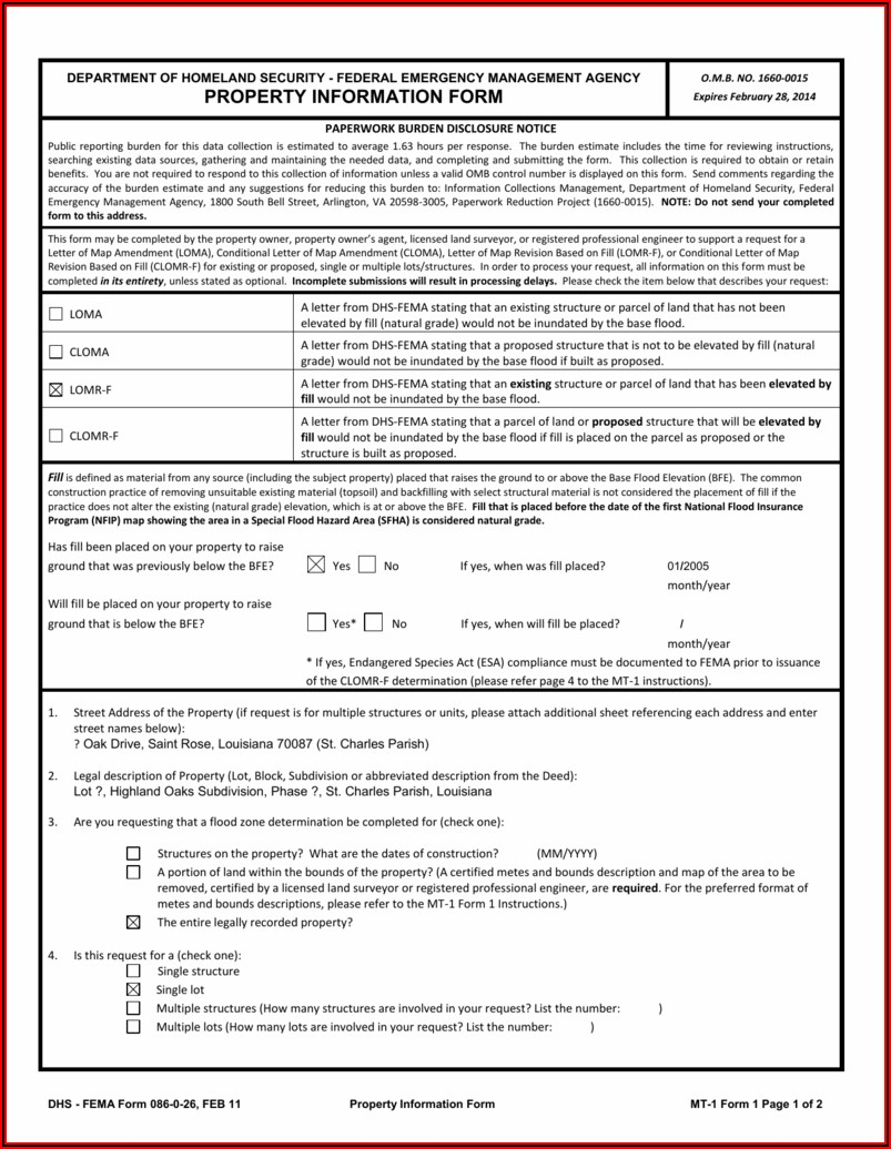 Fema Loma Application Form