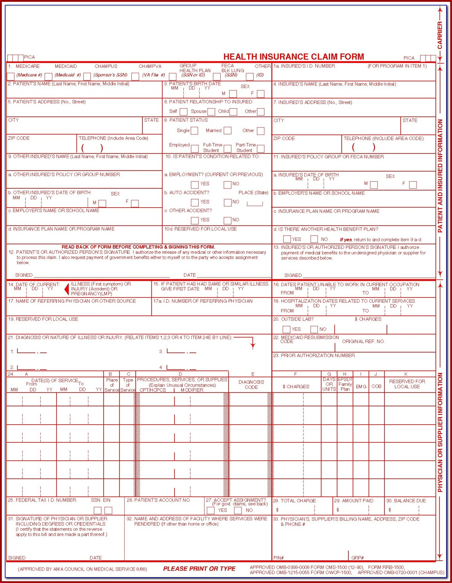 Fillable 1500 Claim Form Free