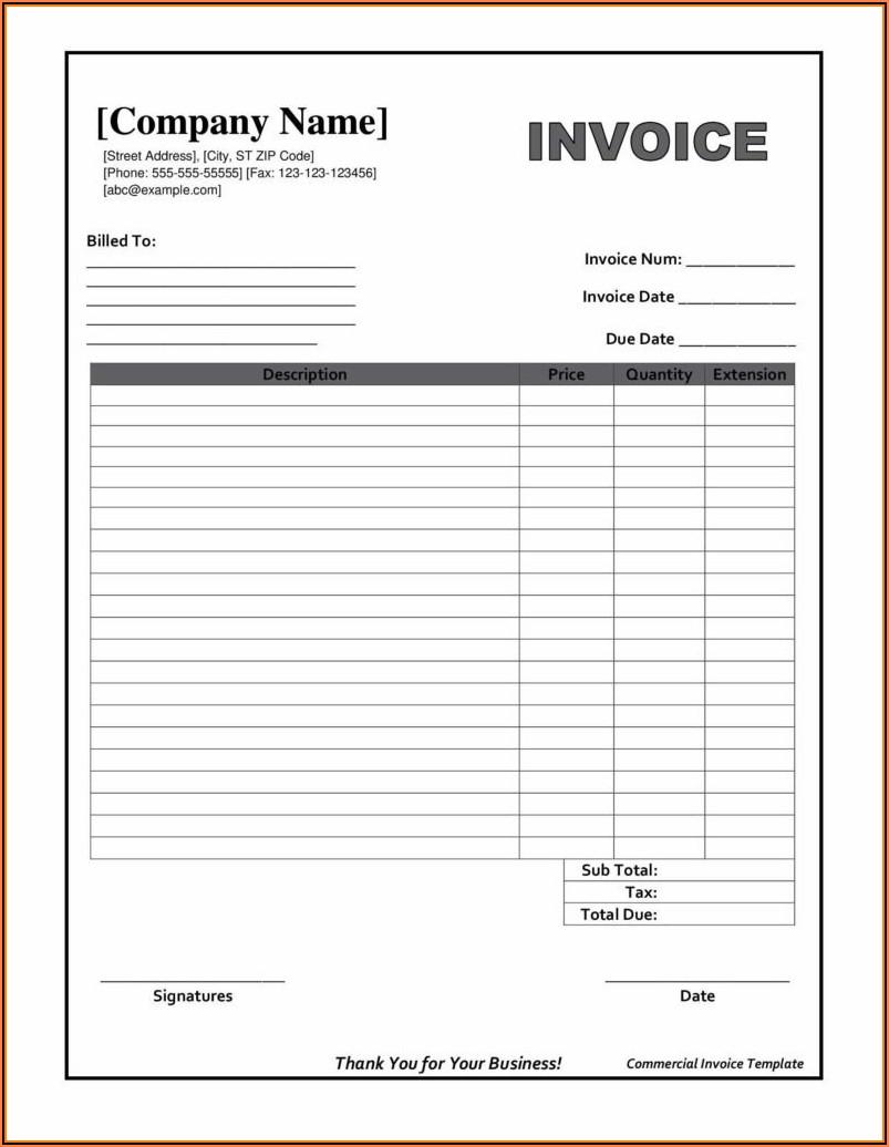Fillable Editable Invoice Template Pdf