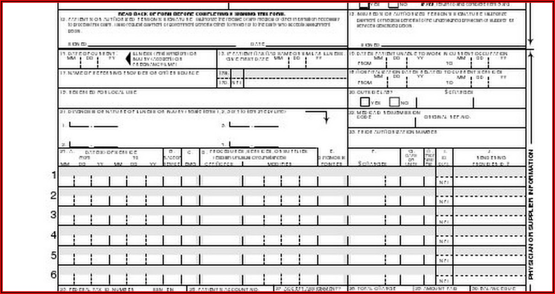 Fillable Hcfa 1500 Claim Form