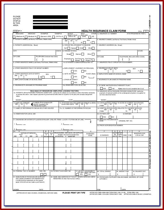 Fillable Health Insurance Claim Form 1500