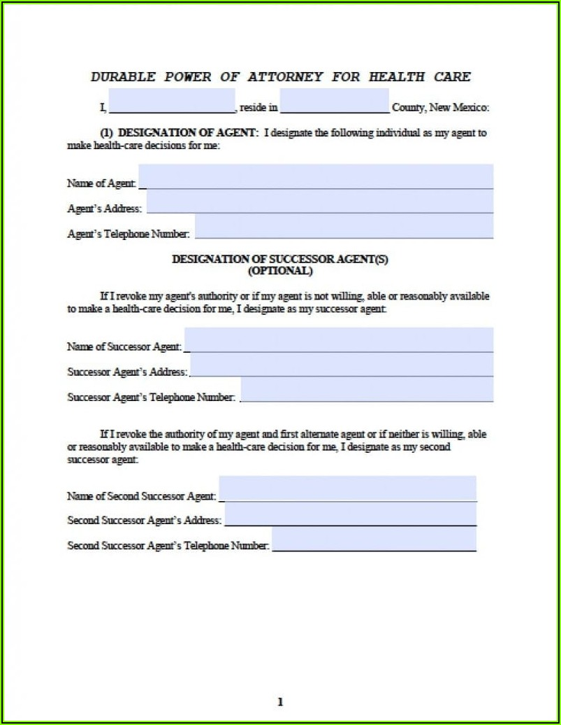 Fillable Medical Power Of Attorney Form
