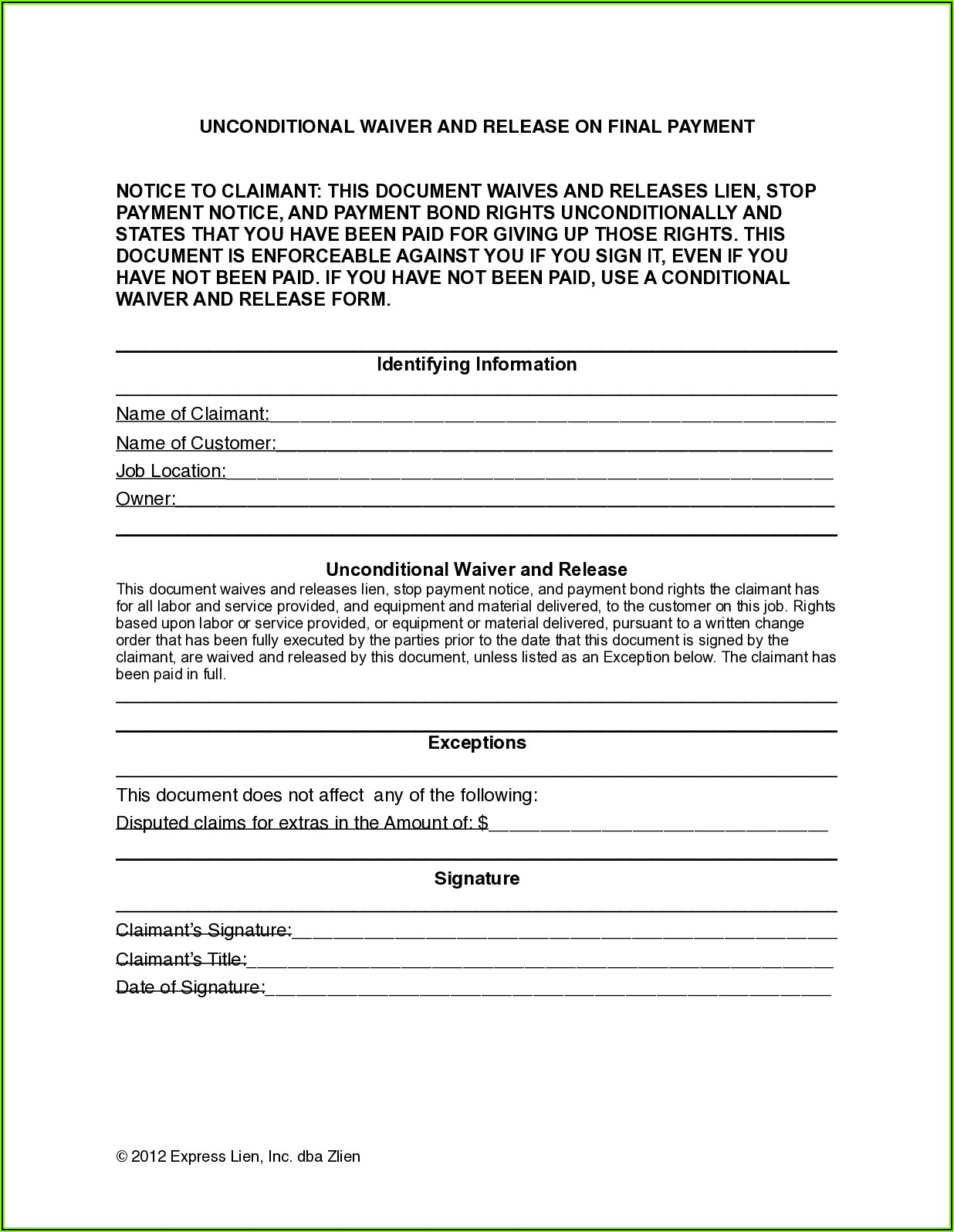 Final Waiver Of Lien Form Indiana