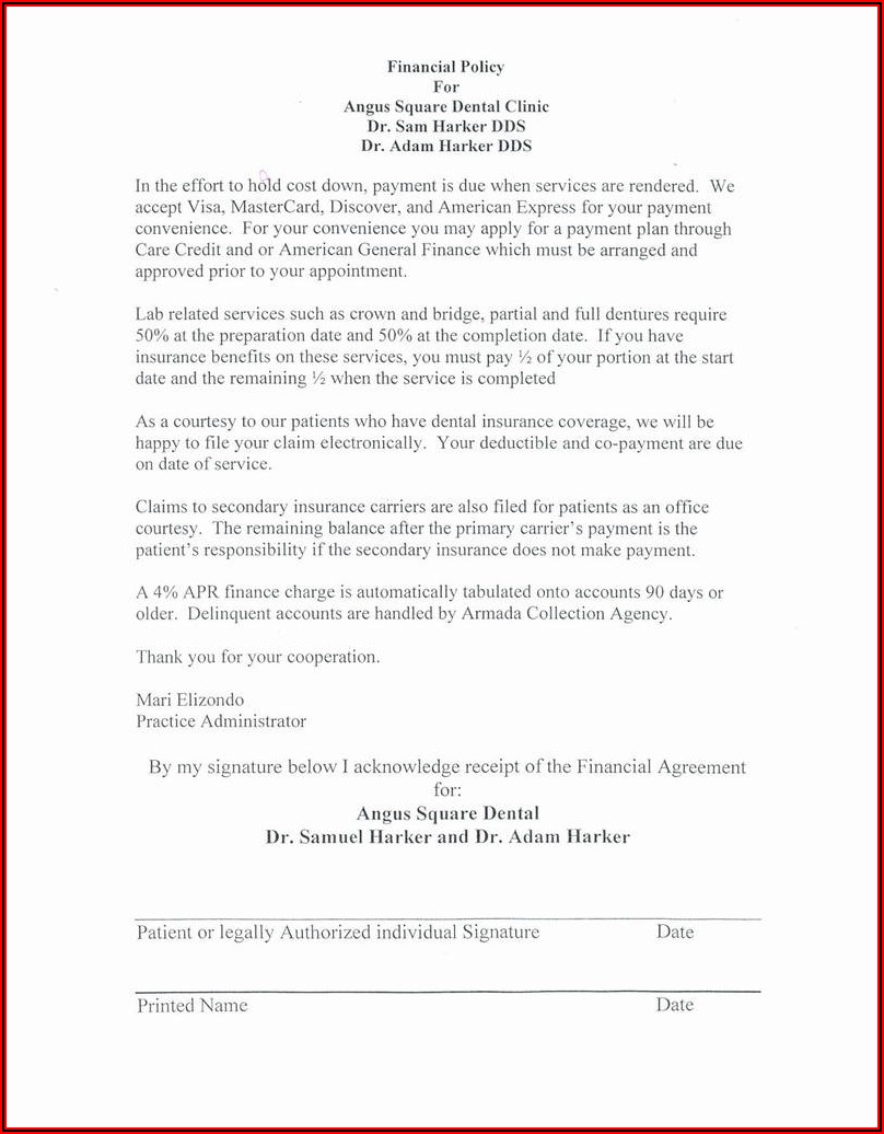 Financial Agreement Forms Dental Office