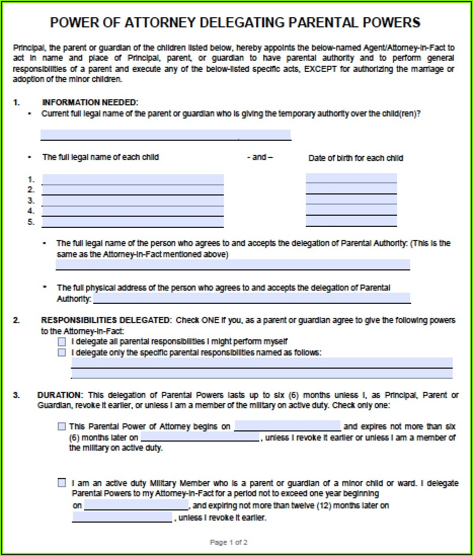 Financial Power Of Attorney Form Ohio Free
