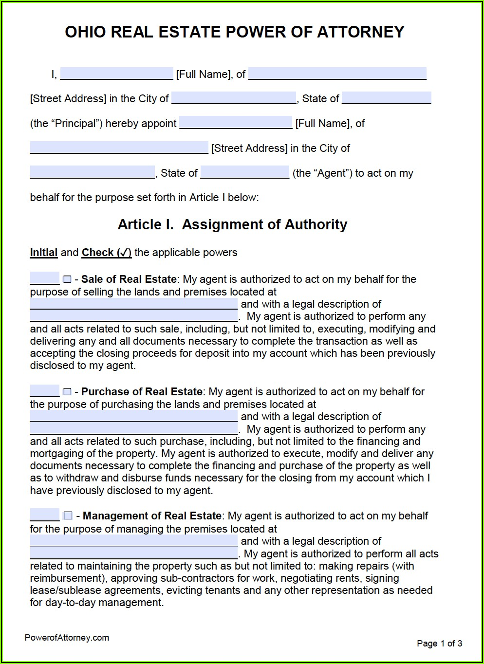 Financial Power Of Attorney Form State Of Ohio