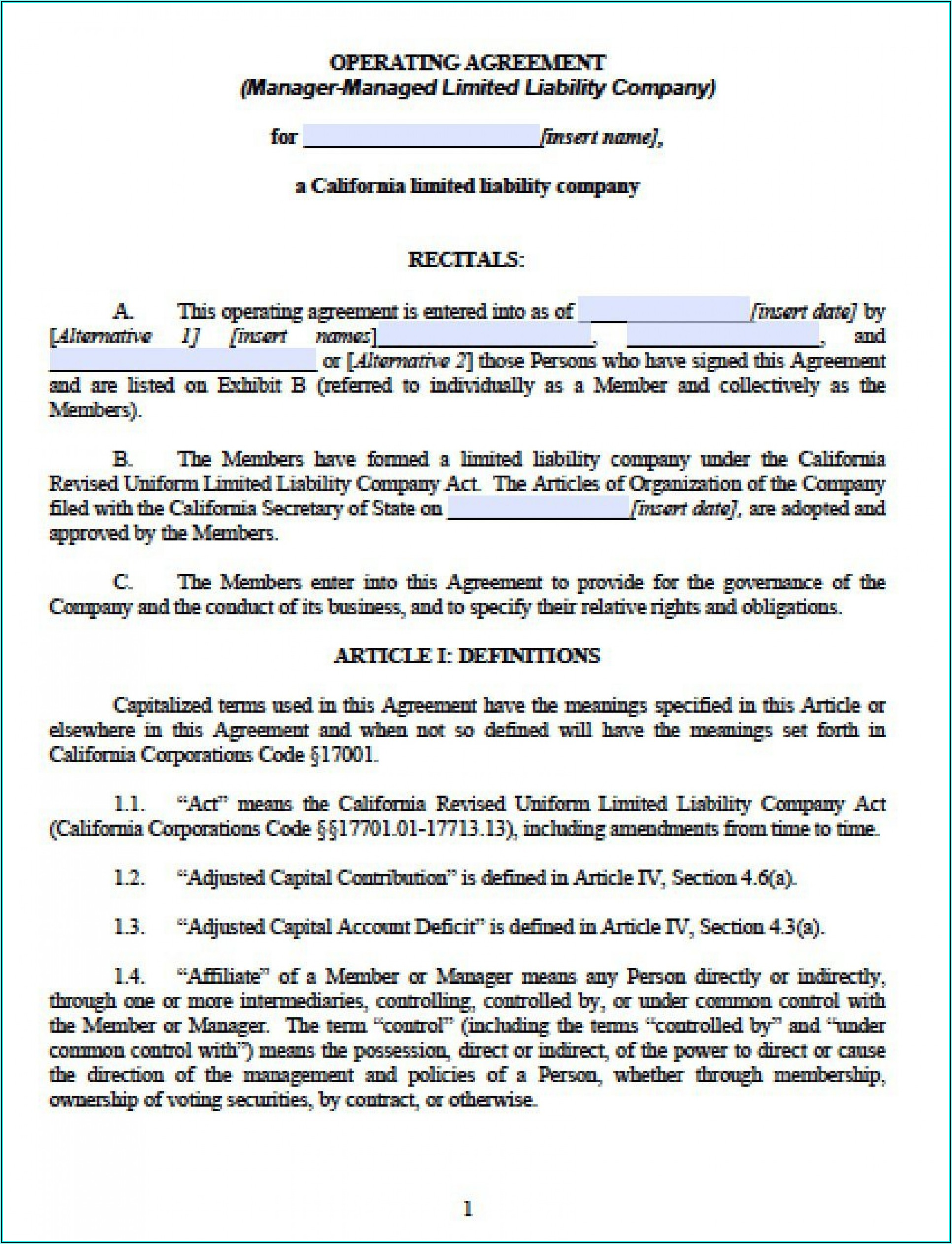 Florida Llc Operating Agreement Template Free