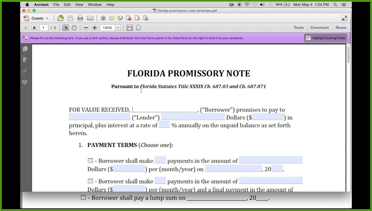 Florida Secured Promissory Note Form