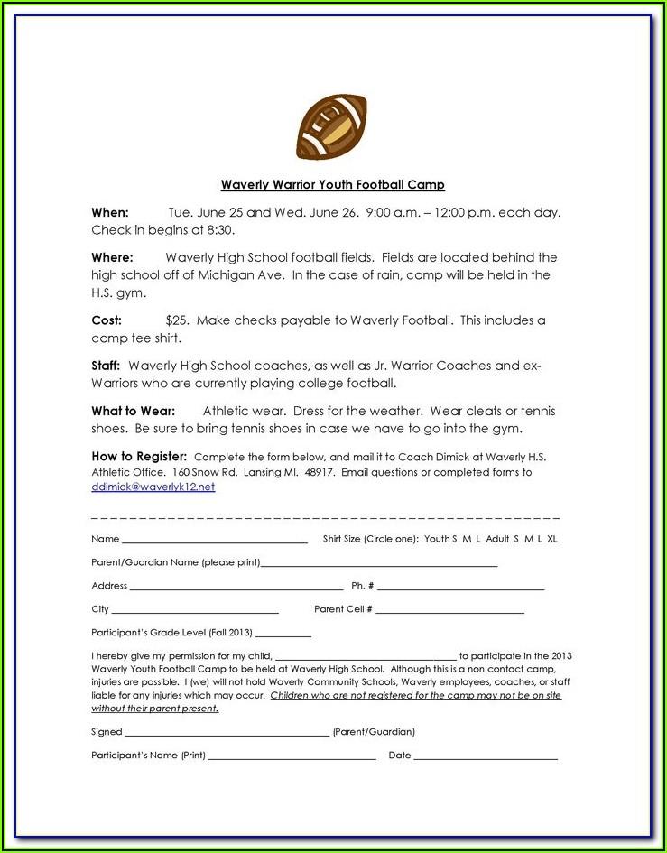 Football Camp Registration Form Template