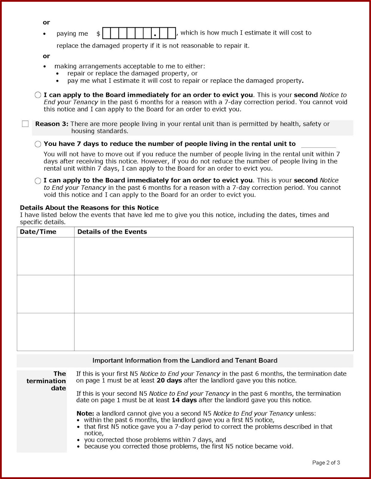 Form To Evict Tenant Ontario