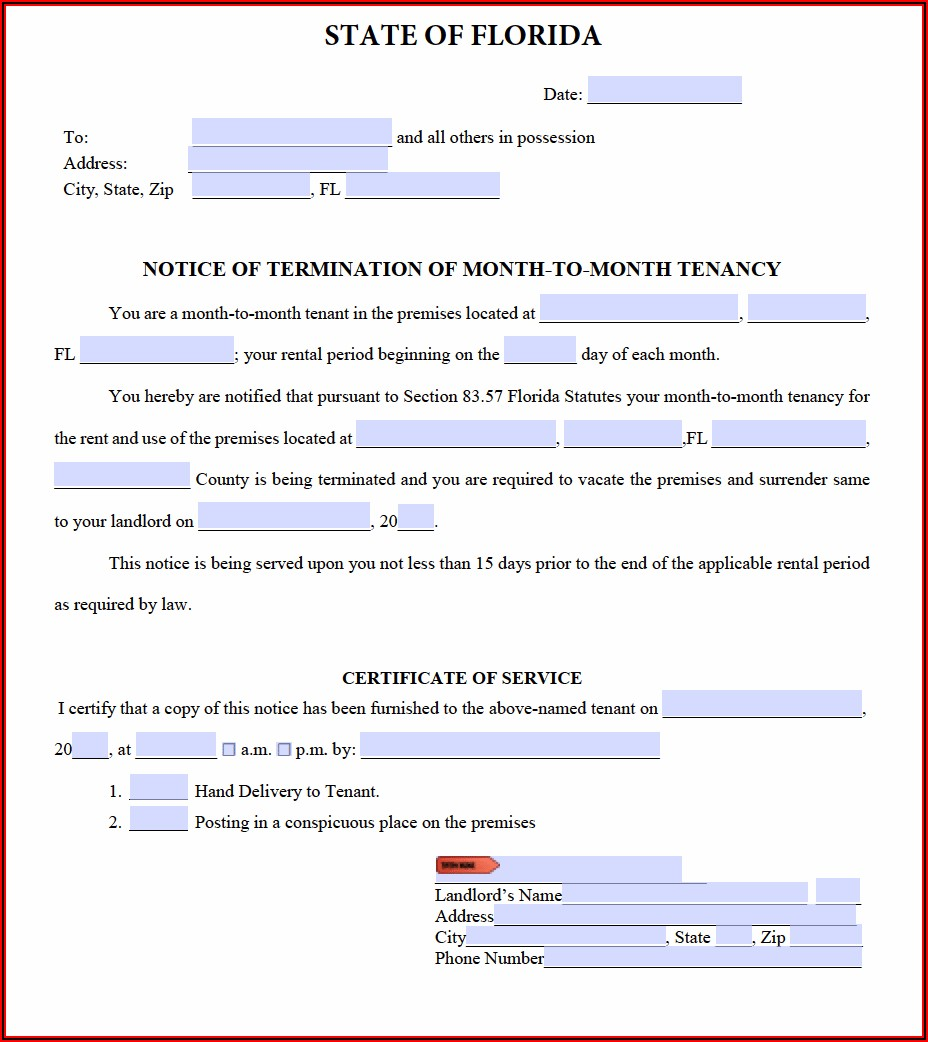 Forms To Evict A Tenant In Florida