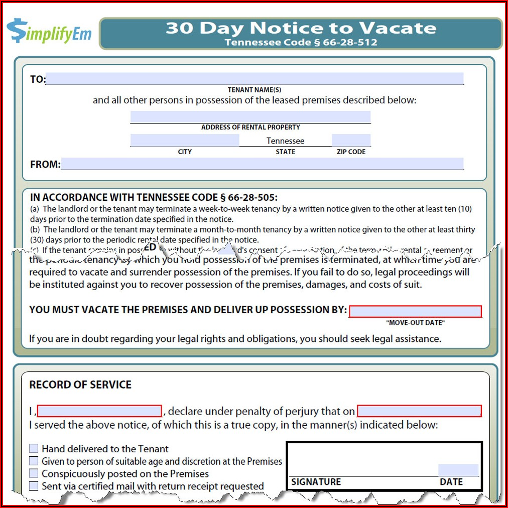 Forms To Evict A Tenant In Tennessee