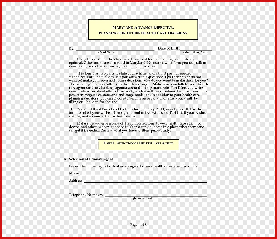 Free Advance Directive Forms Maryland