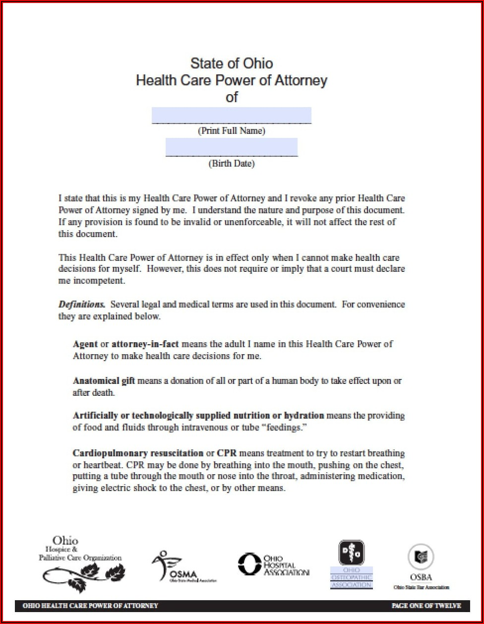Free Advance Directive Forms Ohio