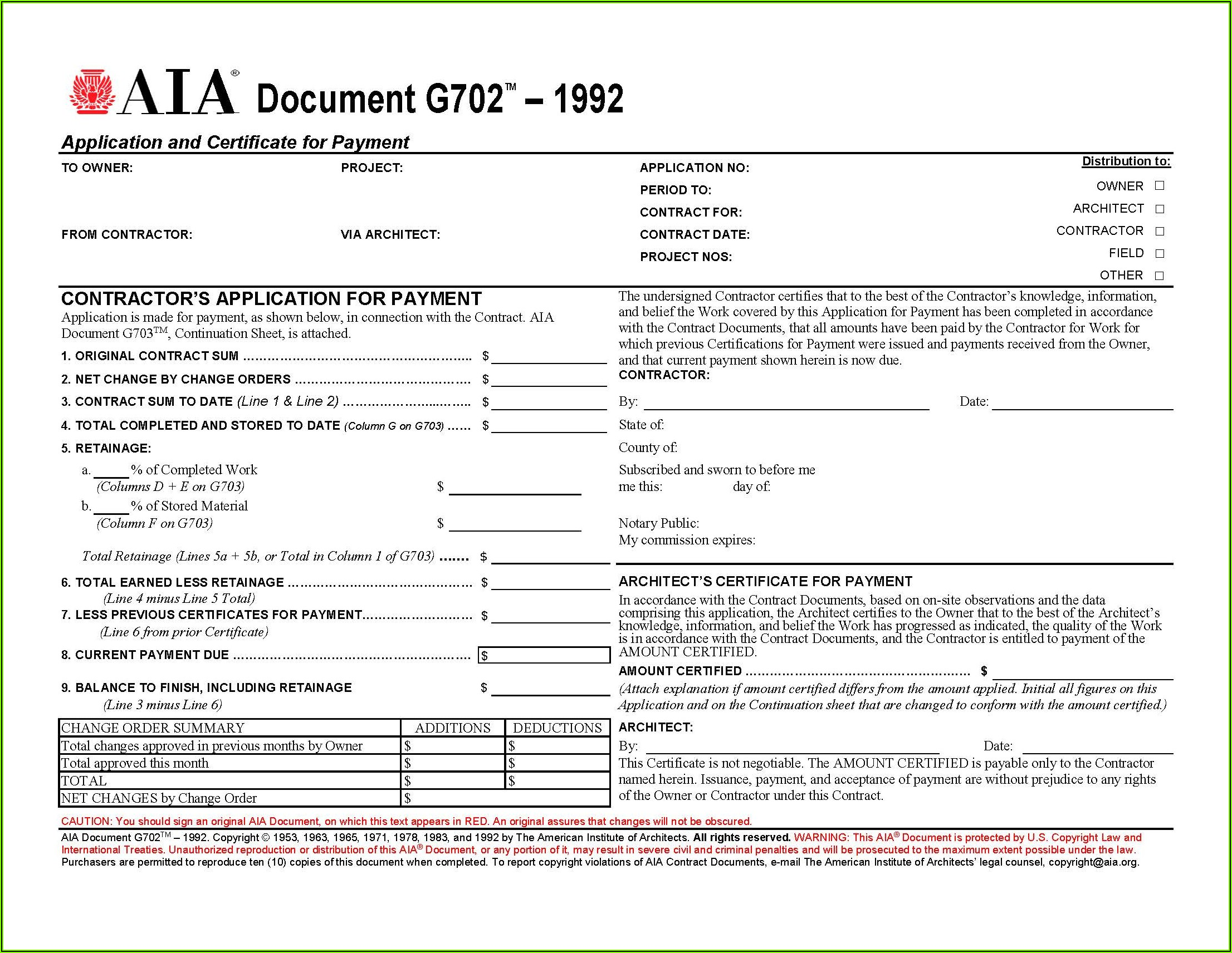 Free Aia Change Order Form G701