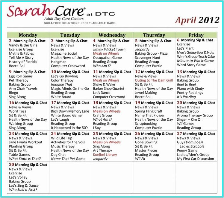 Free Assisted Living Activity Calendar Template