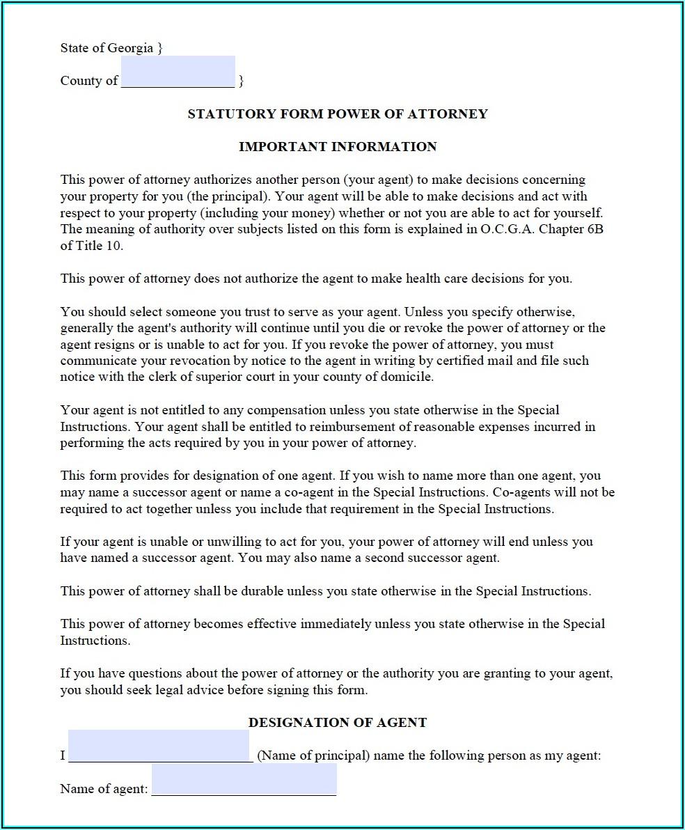 Free Blank Power Of Attorney Form Georgia