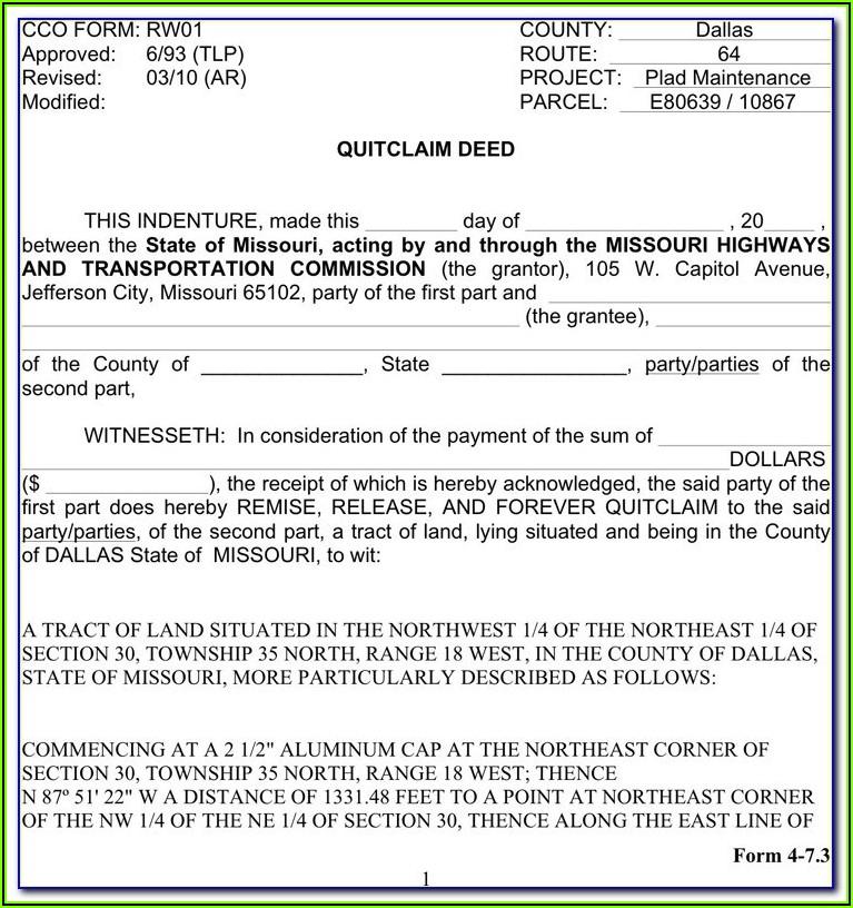 Free Blank Quit Claim Deed Form Missouri