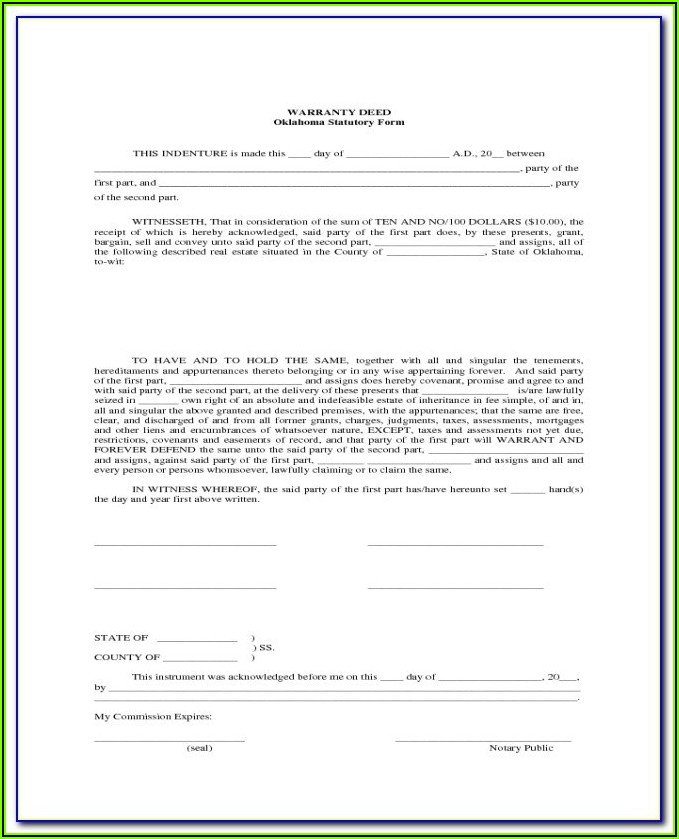 Free Blank Warranty Deed Form