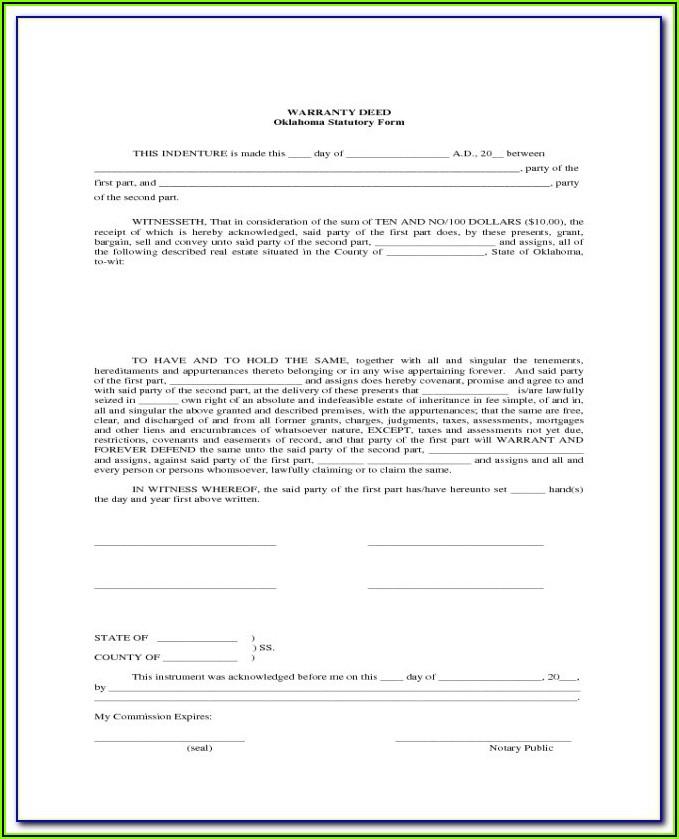 Free Blank Warranty Deed Form
