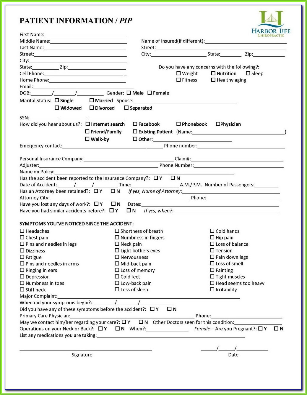 Free Chiropractic New Patient Intake Forms