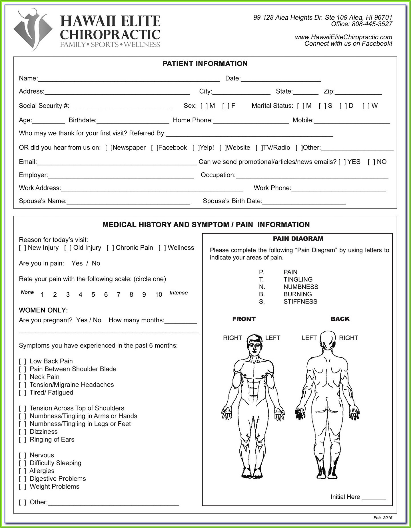 Free Chiropractic Patient Intake Forms