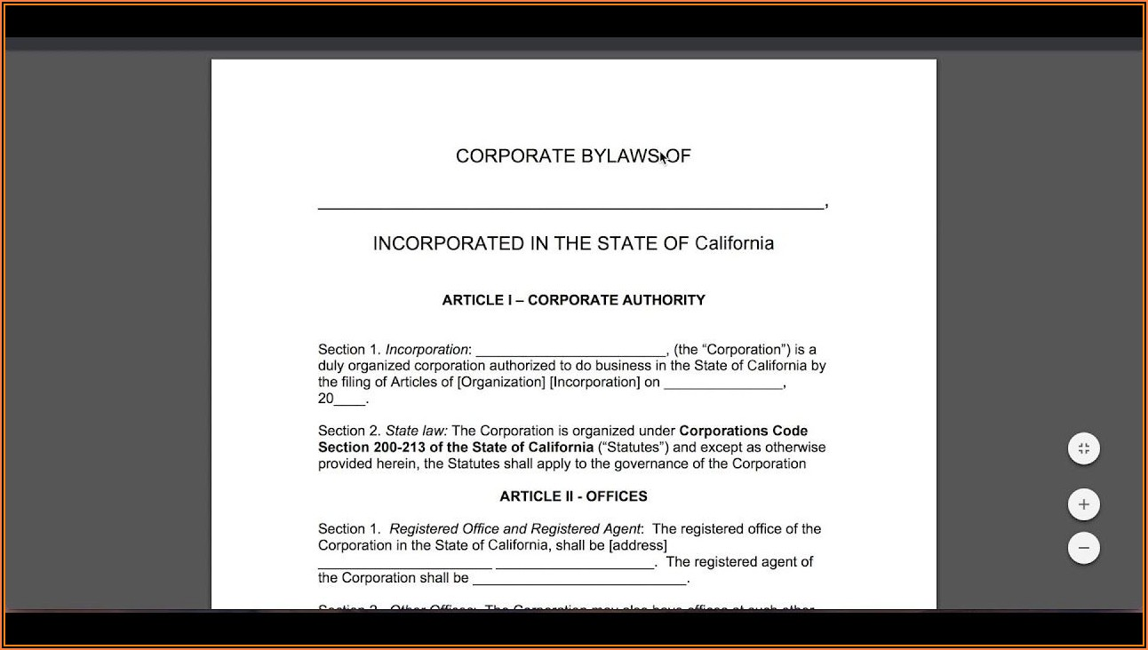 Free Corporate Bylaws Template