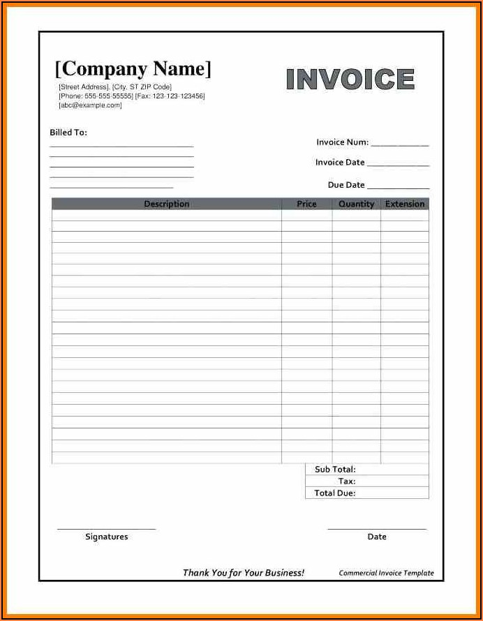 Free Excel Invoice Format Download