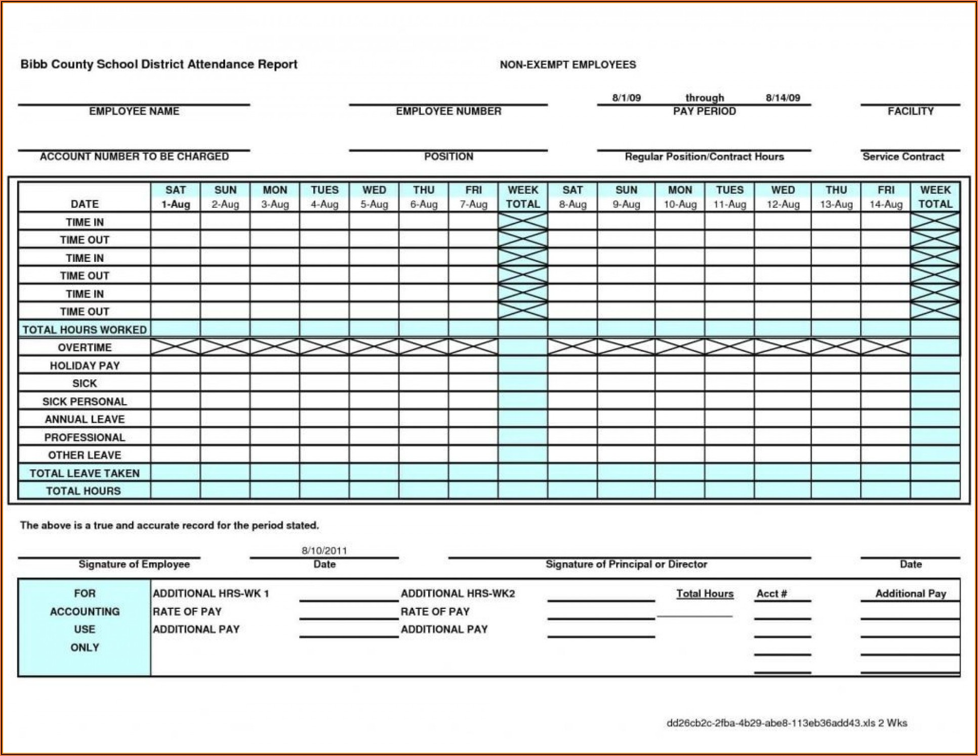 Free Excel Timesheet Template Multiple Employees Monthly
