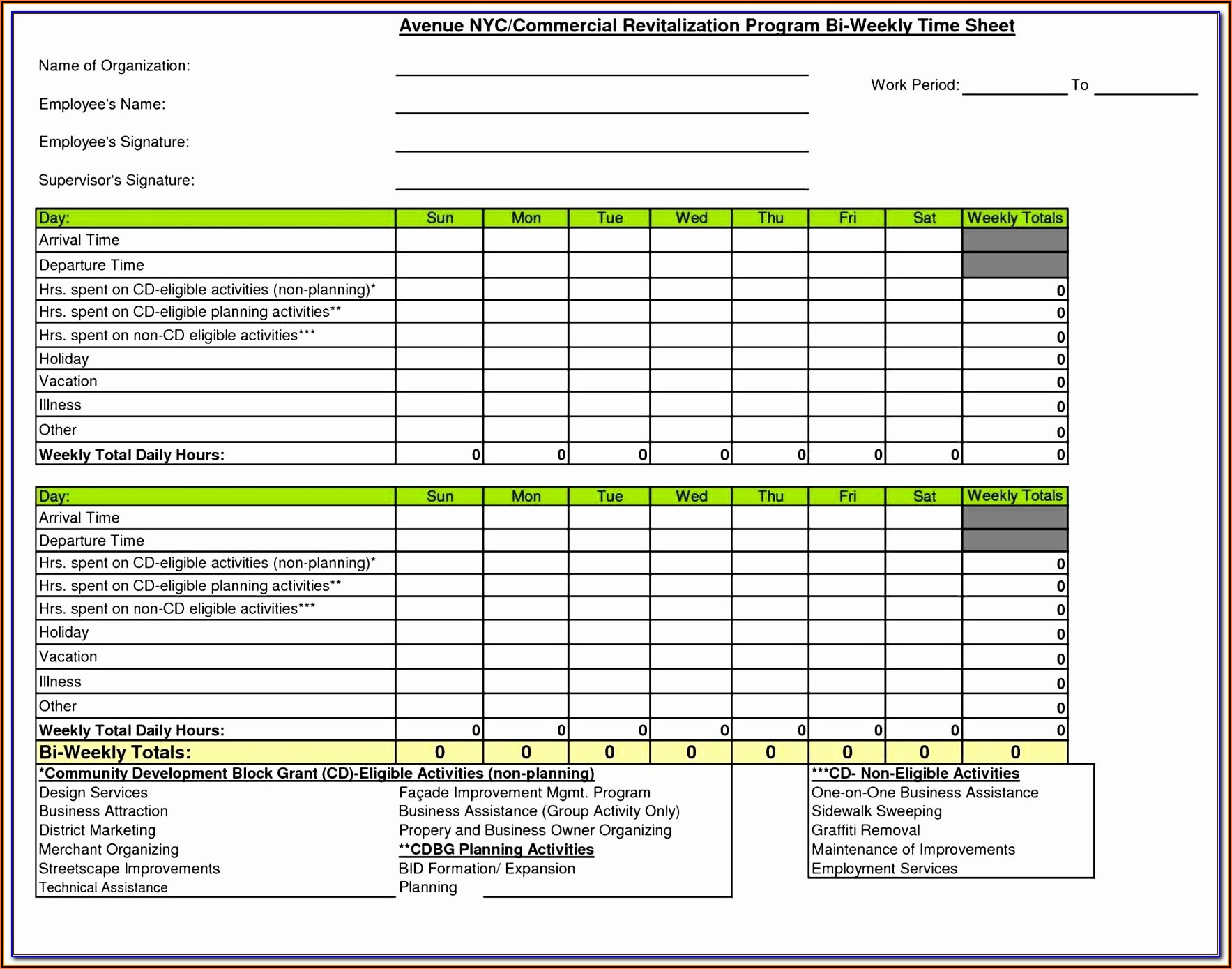 Free Excel Timesheet Template Multiple Employees With Breaks