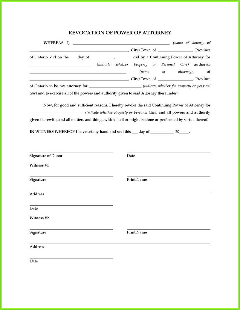 Free Fillable Power Of Attorney Form