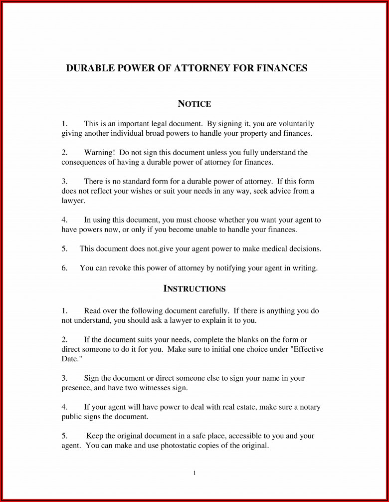 Free Financial Power Of Attorney Form Michigan