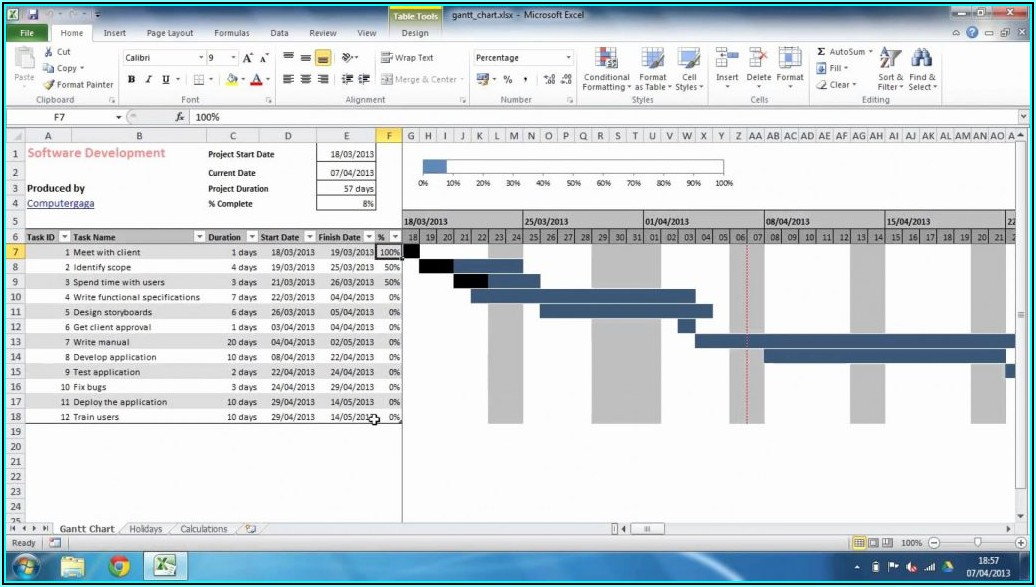 Free Hourly Gantt Chart Excel Template Xls