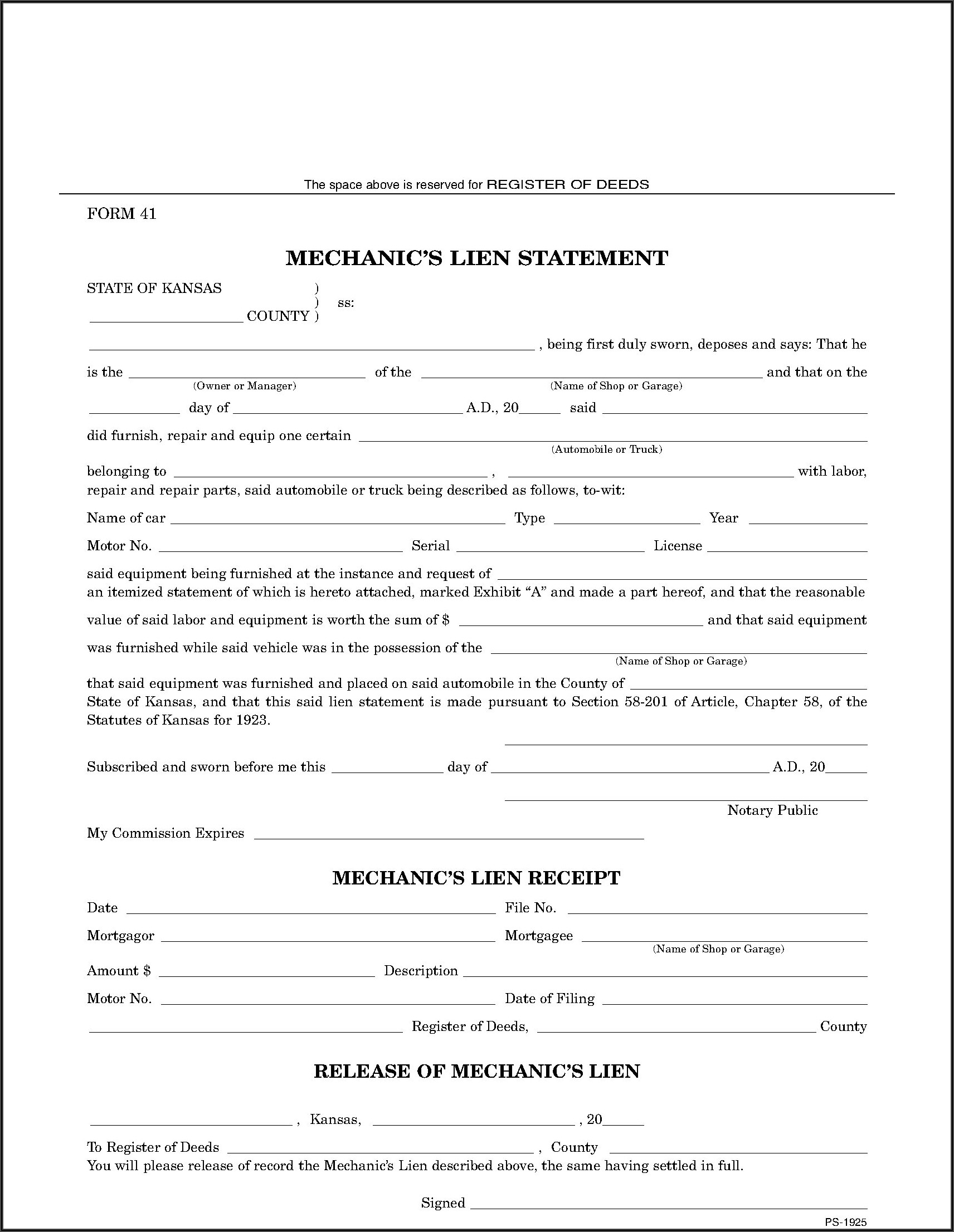 Free Kansas Mechanic Lien Form