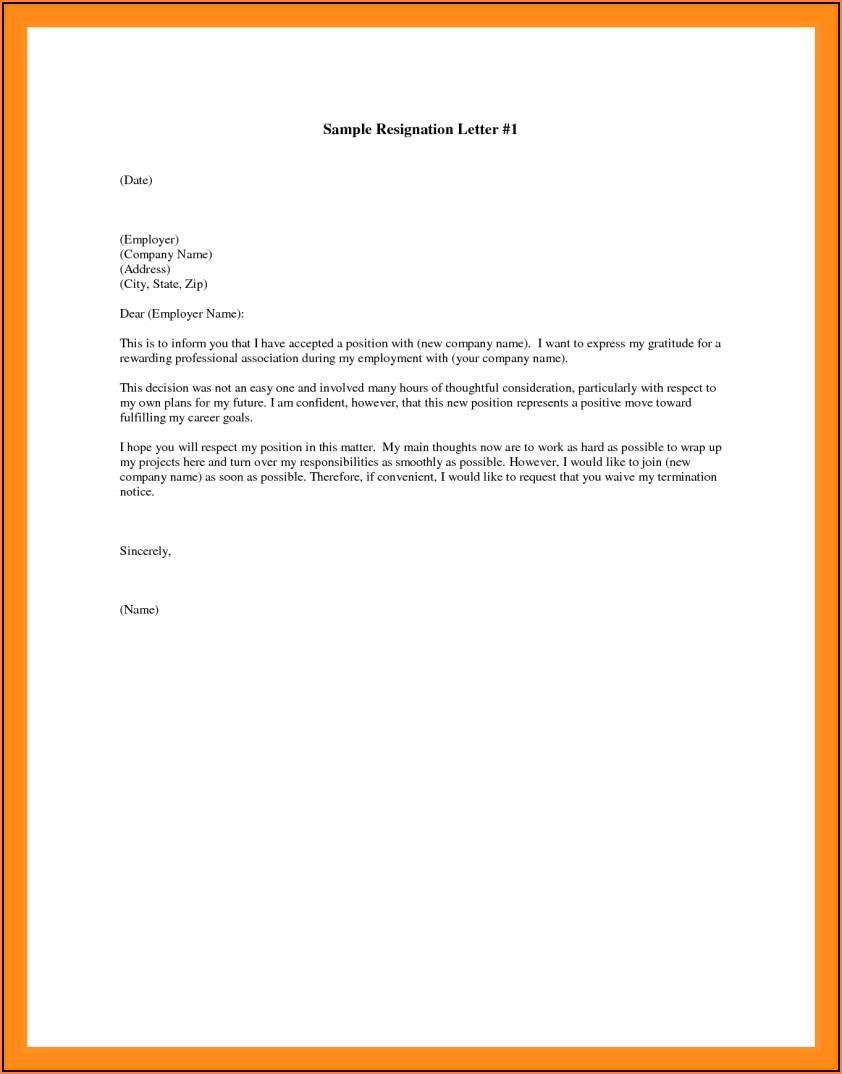 Free Letter Of Resignation Template Samples
