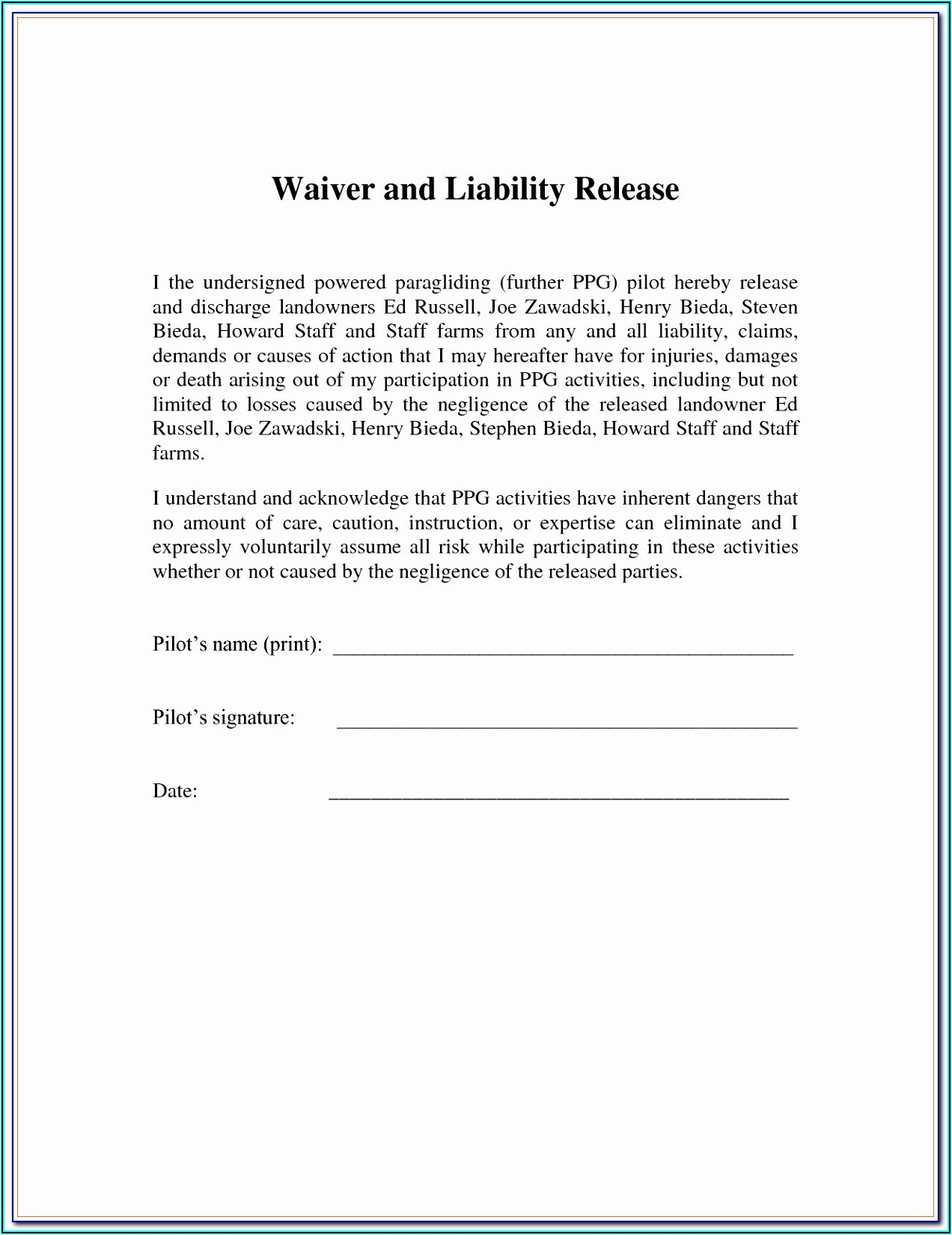 Free Liability Waiver Template
