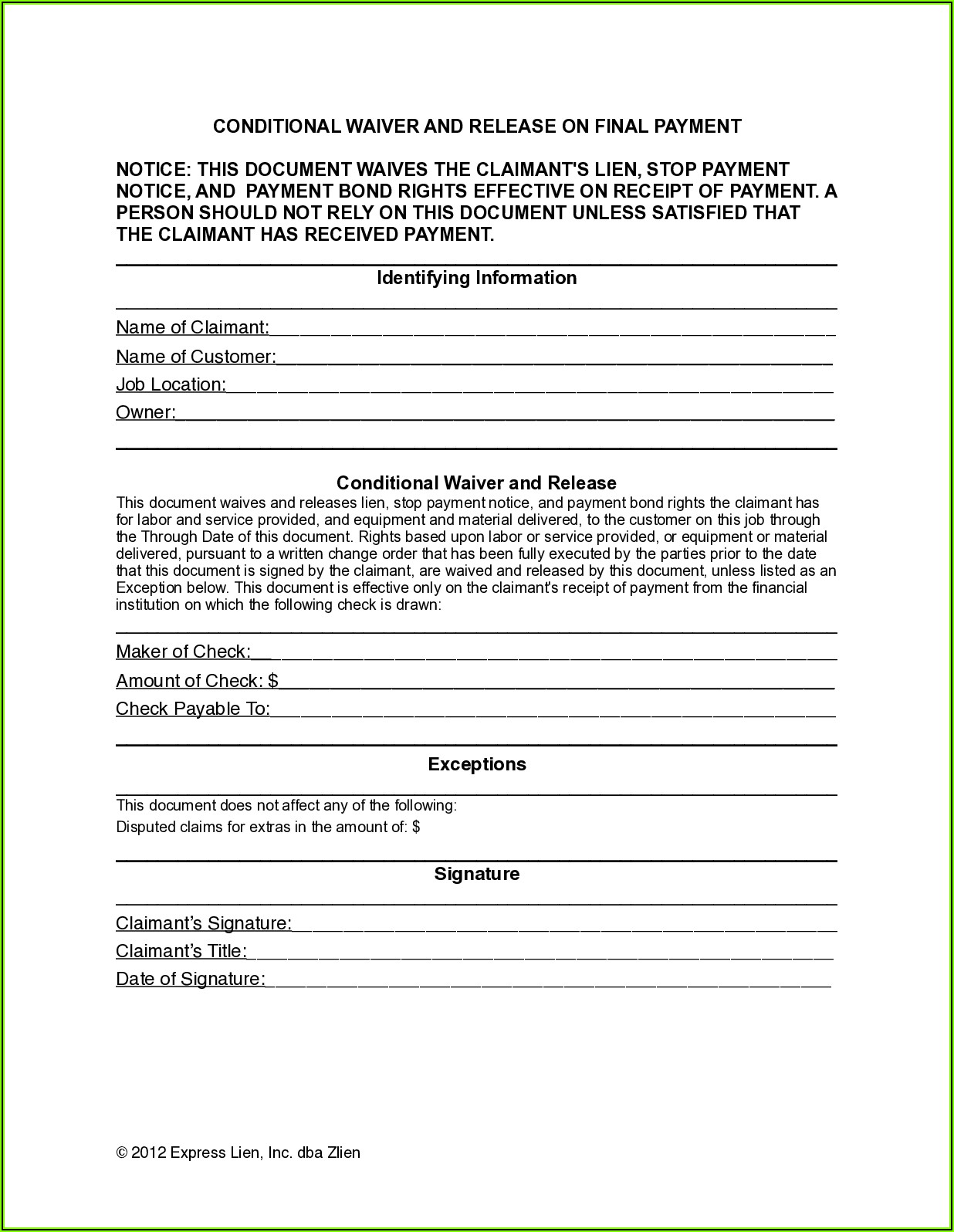 Free Lien Waiver Form Colorado