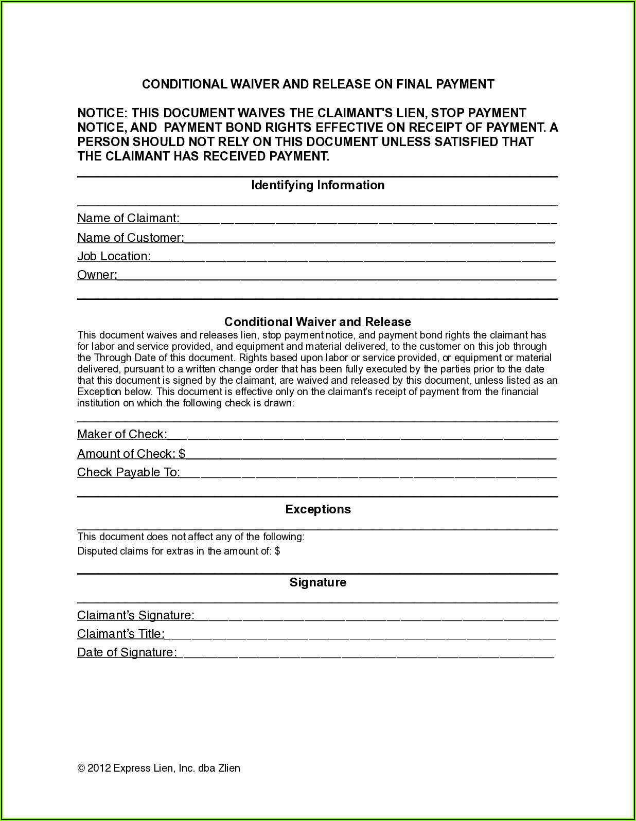 Free Lien Waiver Form Colorado