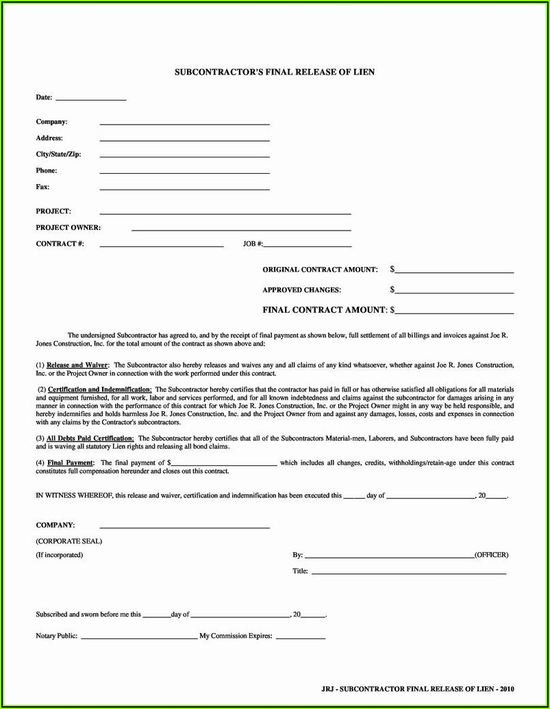 Free Lien Waiver Form Missouri