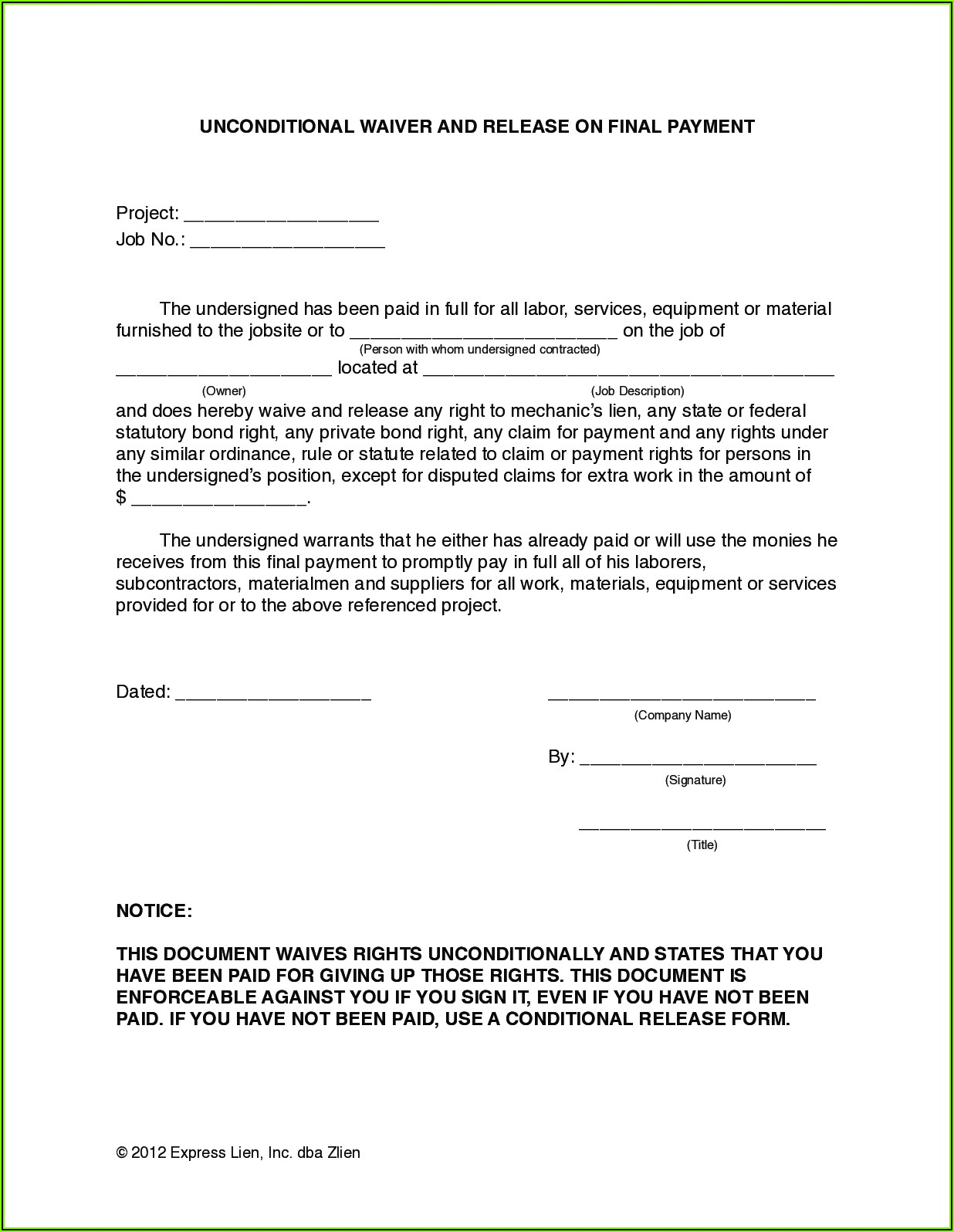 Free Lien Waiver Forms For Construction