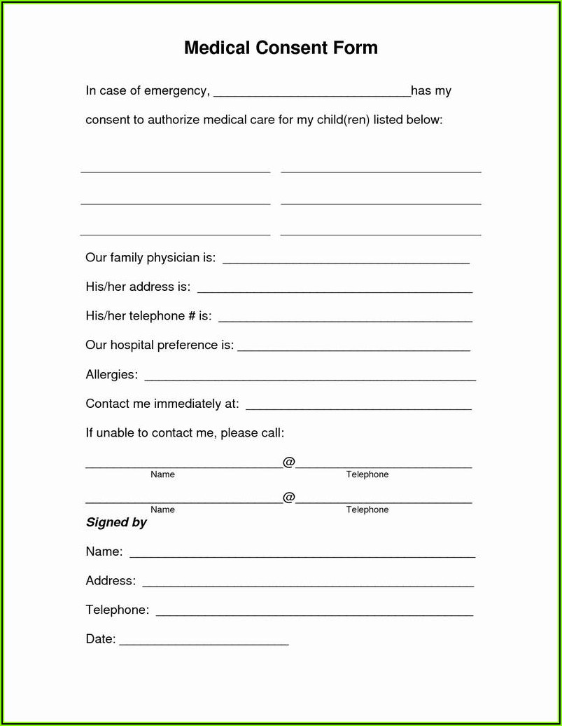 Free Medical Authorization Form