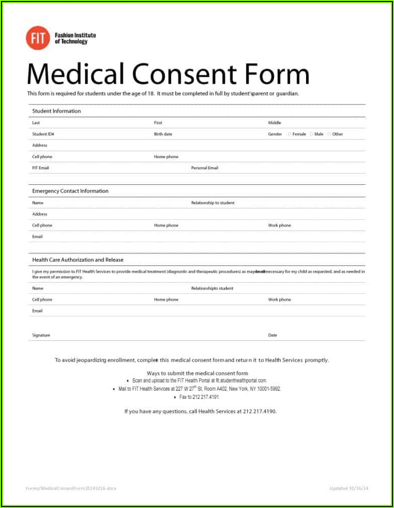 Free Medical Consent Form For Child While Parents Are Away