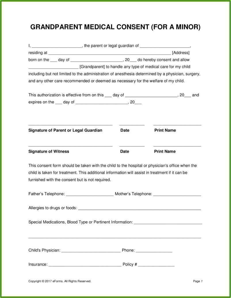 Free Medical Consent Form For Minor In Texas