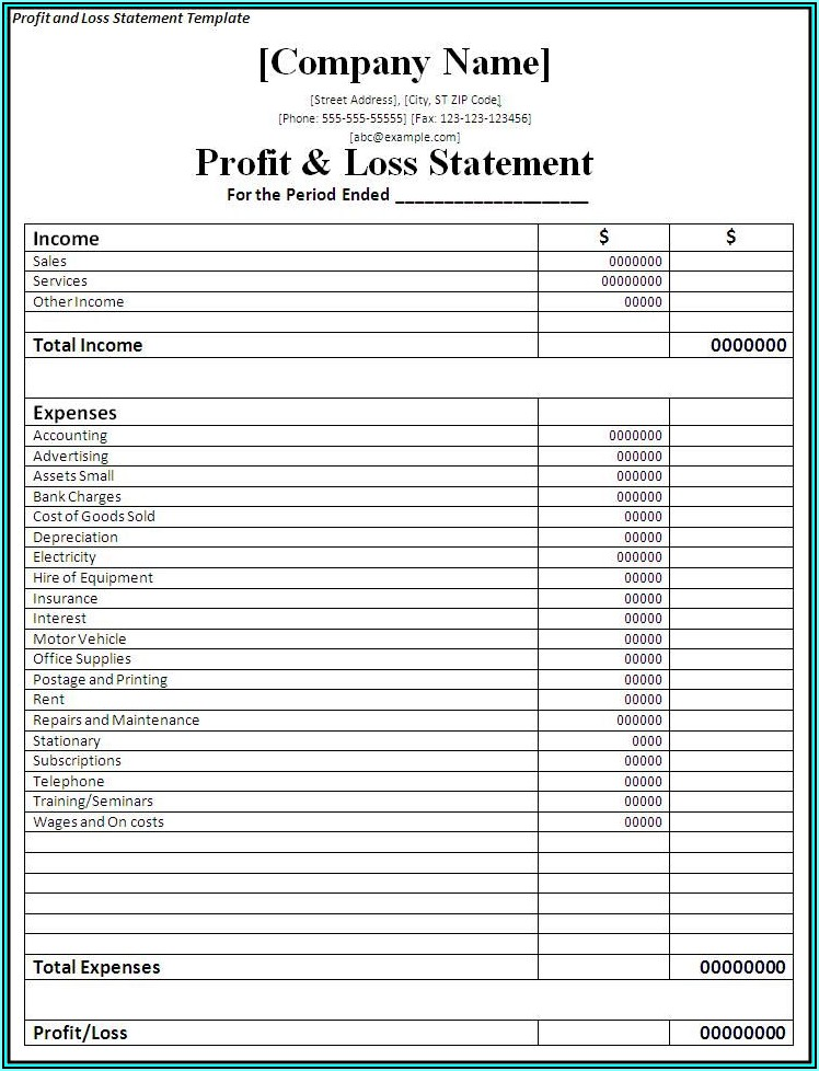 Free Monthly Profit And Loss Template For Self Employed