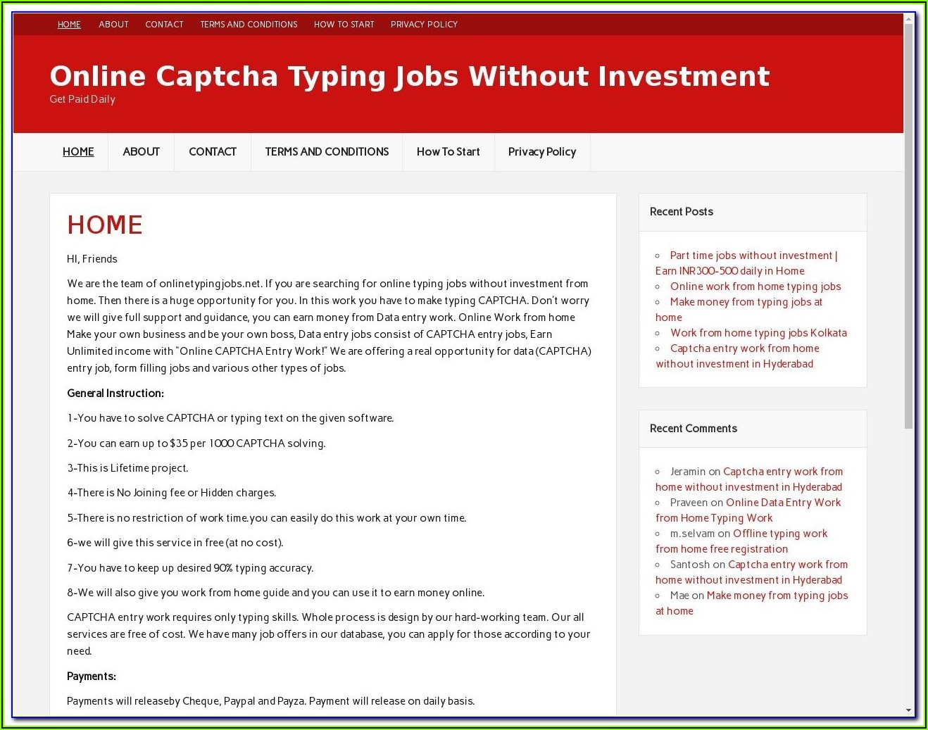 Free Online Form Filling Jobs From Home Without Investment In India