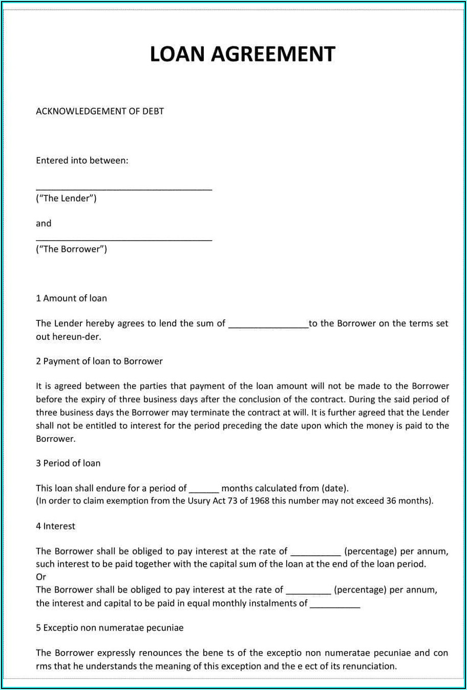 Free Personal Loan Contract Template